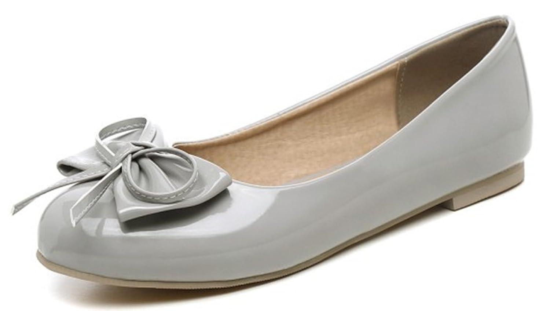 Sfnld Women's Sweet Bowknot Round Toe Flats Shoes Gray 5 B(M) US