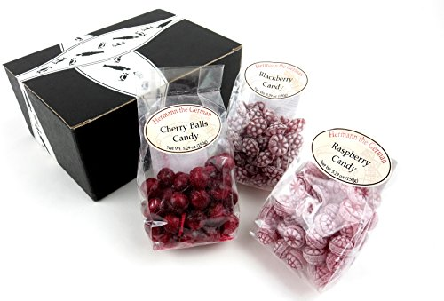 Hermann the German Bavarian Hard Candy 3-Flavor Variety: One 5.29 oz Bag Each of Blackberry, Raspberry, and Cherry in a BlackTie Box (3 Items Total)
