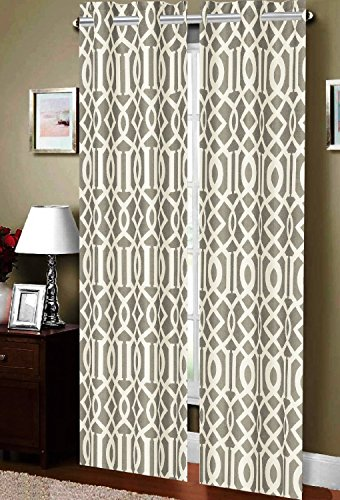 luxurious elegance linen geometric collection beautiful printed window with grommets set of 2 grey