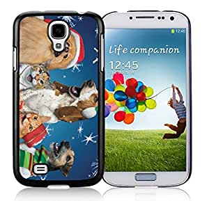 Popular Sell Design Snowflakes Christmas Dogs and Cats Black TPU Protective Skin For Samsung I9500,Samsung Galaxy S4