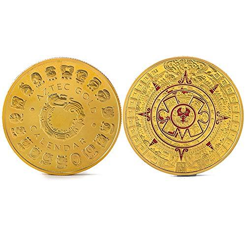 StaunchWea Mayan Prophecy Calendar Commemorative Coin, Collectible Coins, Souvenir Coin - Gold/Silver Plated, Uncirculated Golden