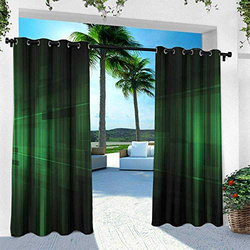 Hengshu Forest Green, Outdoor Blackout Curtains,Vibrant Technology Pattern with Vertical Lines Digital Technical Themed Print, W96 x L108 Inch, Green Black