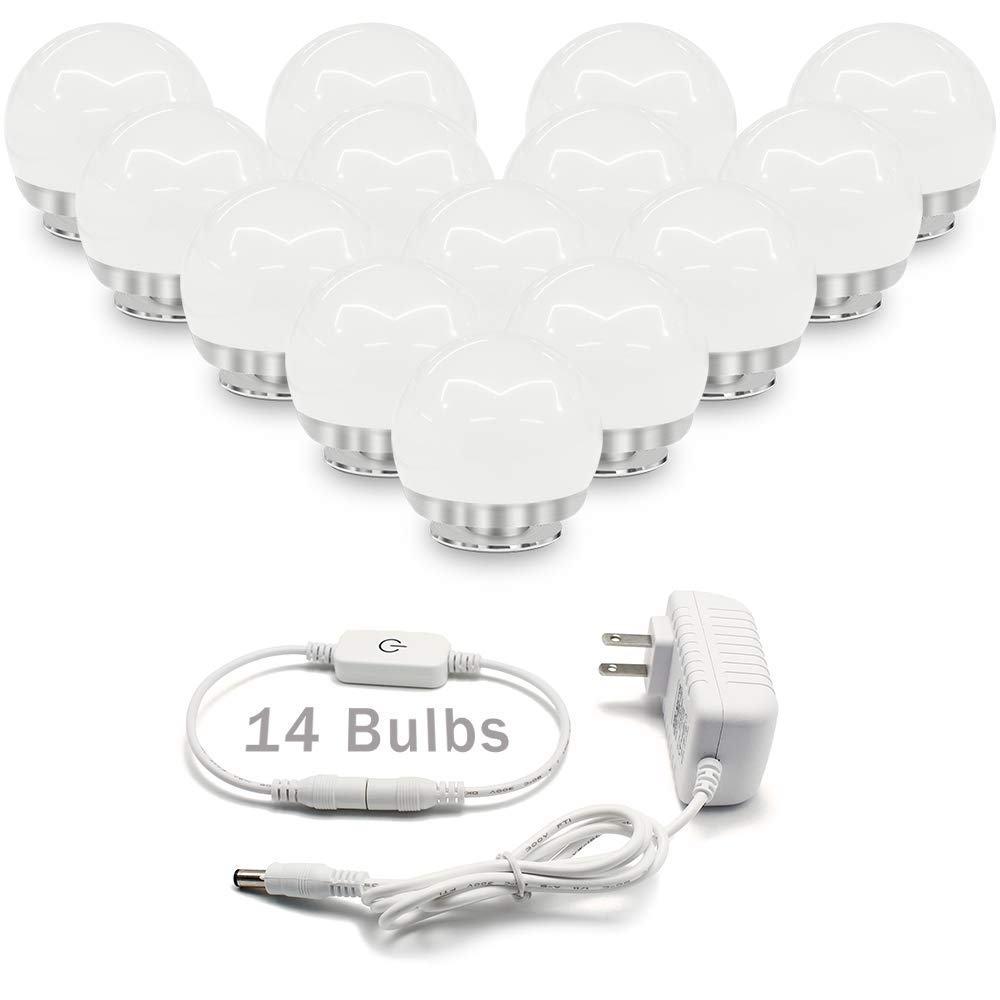 Hollywood Style Vanity Mirror Lights, 14 Vanity Makeup LED Light Bulbs with Dimmable Touch Sensor for Makeup Mirror