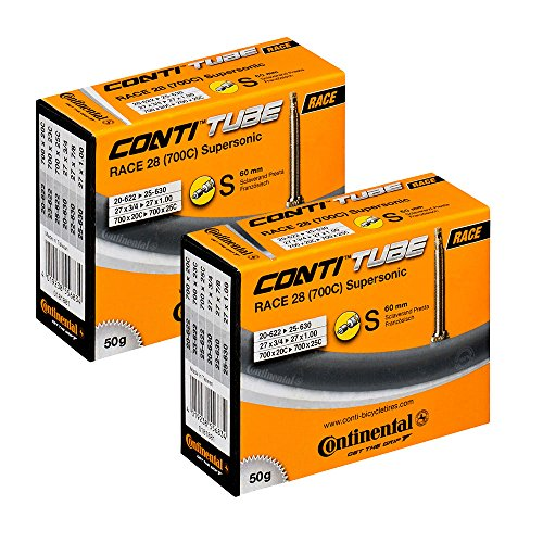 Continental Supersonic Lightweight Long Valve Bicycle Tubes Presta Valve 60mm Bike Tube Bundle (Pack of 2 Conti Tubes)