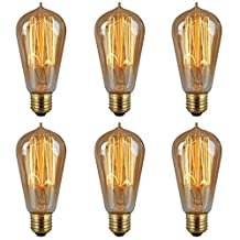 Set of 6pcs Vintage Edison Squirrel Cage Teardrop Pendant Bulbs, Tungsten filament bulbs-60W (E26), 60x130mm