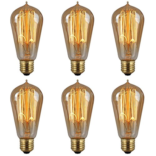 Edison Bulbs, 60w Filament Long Life Vintage Antique Style Incandescent Clear Glass Light Squirrel Cage Design E26 E27 Medium Base Lamp (6 Pack) for Chandeliers Wall Sconces Pendant Lighting