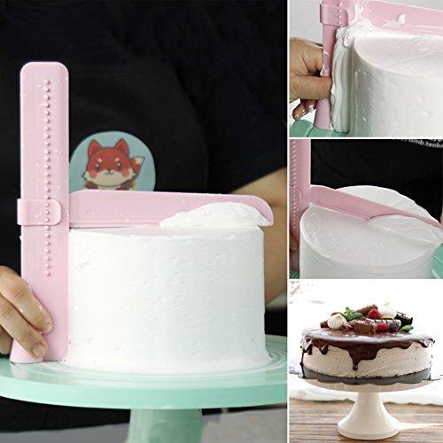Future Adjustable Fondant Cake Scraper polisher Smoother Plastic Decorating Tools (Pink)