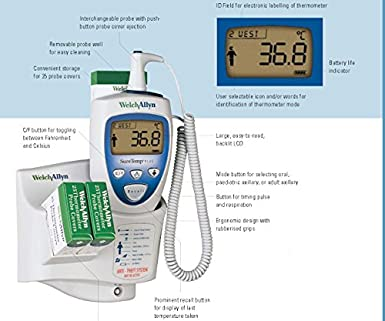 Welch Allyn 01692-200 Suretemp Plus 692 Electronic Thermometer with Wall Mount and 4 Foot