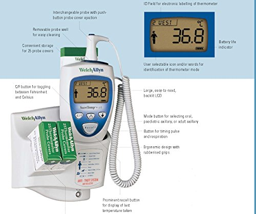 Welch Allyn 01692-300 Suretemp Plus 692 Electronic Thermometer with Wall Mount and 9 Foot Oral Probe by Welch Allyn