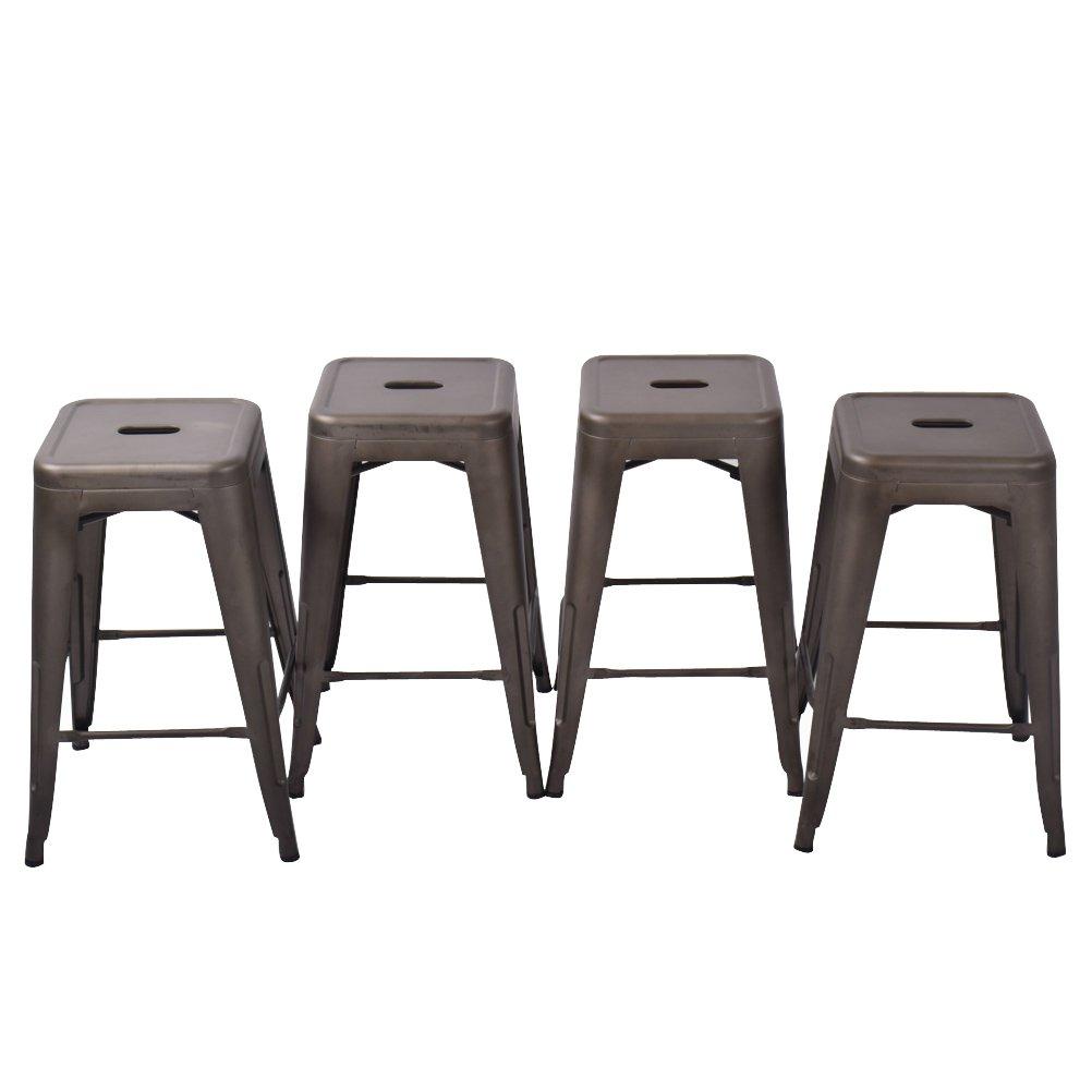 HAOBO Home Modern Industrial Metal Stool [Set Of 4] Stackable for Indoor/Outdoor 17'' Dining Chair (26'', Bronze)