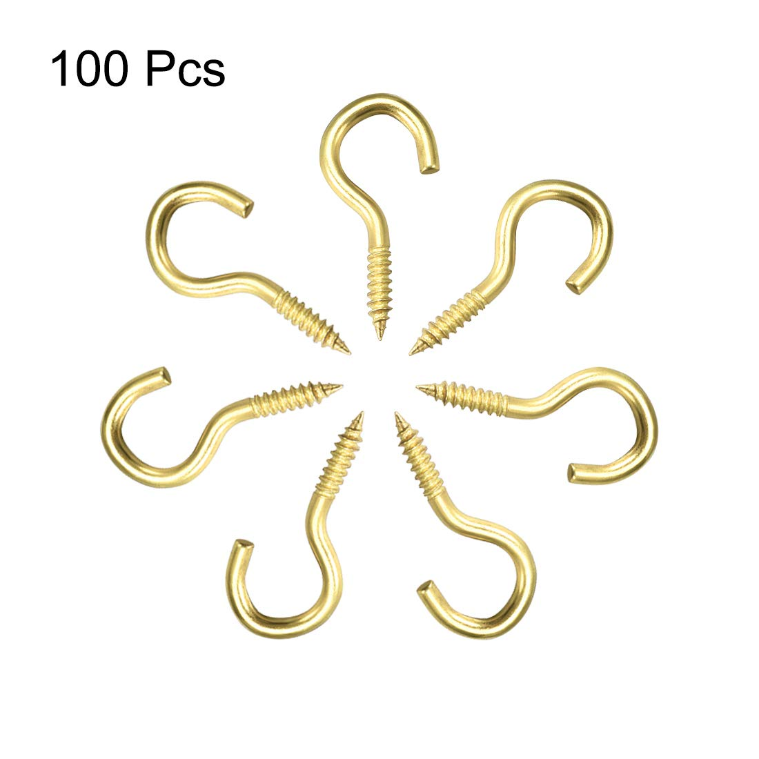 100 unidades color dorado Ganchos de tornillo para ojales Sourcingmap