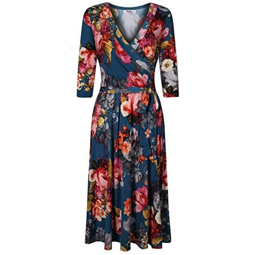 c96b941c7f2 BodiLove Women s 3 4 Sleeve V-Neck Solid Knee Length Wrap Dress chic ...