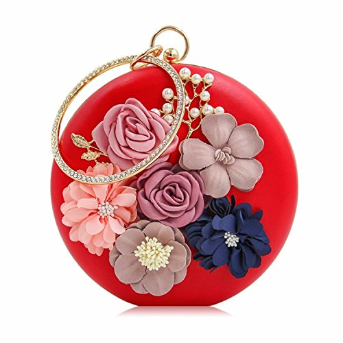 Purse Ladies Party Women Day Wedding Evening Female Bag Bags Flower Clutch Clutches Red 4wFqBx8