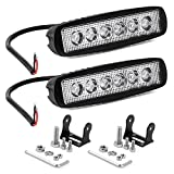 YITAMOTOR LED Light Bar 2PCS 18W 6 Inch Flood LED Work Light Pods Single Row Off Road Led Light Driving Light Fog Light Boat Light Waterproof SUV ATV 4WD Car Truck Golf Cart 12V 24V, 2 Year Warranty