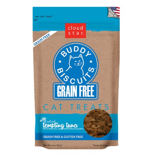 Cloud Star Grain Free Buddy Biscuits for Cats, Tempting Tuna, 3 Ounce (Cloud Cat)