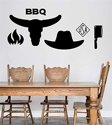 Uggia Wall Stickers Quotes Vinyl Art Room Mural Posters Characters American Barbecue BBQ Diner Restaurant Stove Fire Bull Head Hat and Knife (Best Barbecue Restaurants London)