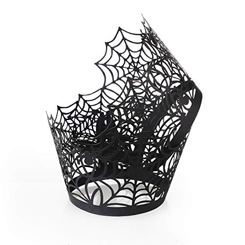 Carry360 Black Spiderweb Cupcake Wrappers, 100pcs Lace Cupcake Liners Laser Cut Cupcake Paper Wraps Muffin Cups for Halloween Party