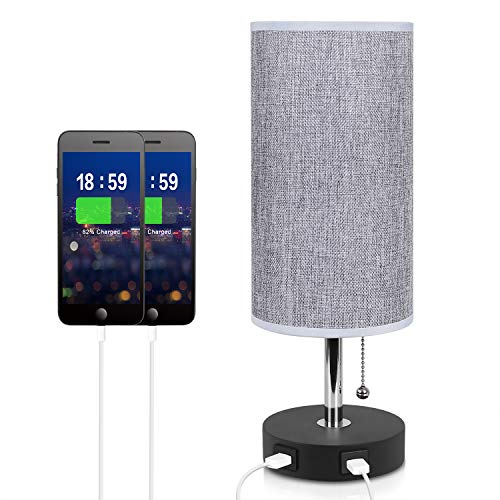 - Dual USB Table Desk Lamp, Seealle Grey Bedside Nightstand Table Lamp with USB Fast Charging Port, Pull Chain, Wooden Base for Bedroom Living Room