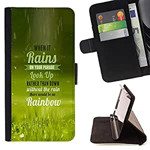 BullDog Case - FOR/Samsung Galaxy Note 4 IV / - / rain parade rainbow look up quote life /- Monedero de cuero de la PU Llevar cubierta de la caja con el ID Credit Card Slots Flip funda de cuer