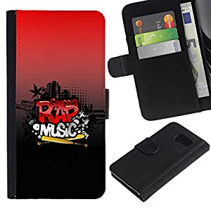 Ihec-Tech / Flip PU Cuero Cover Case para Samsung Galaxy S6 SM-G920 - Rap Music