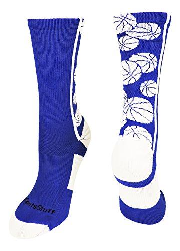 MadSportsStuff Crazy Basketball Logo Crew Socks (Royal/White, X-Large)