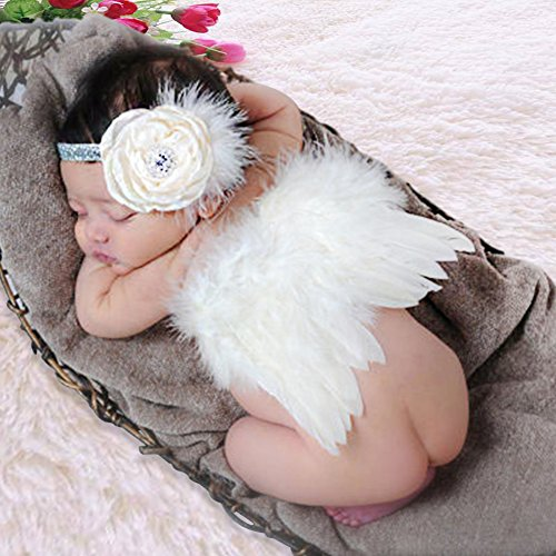 Newborn Photography Props Girl, GeMoor 3 Pack Baby Angel Wings and Headbands for Photo Props ()