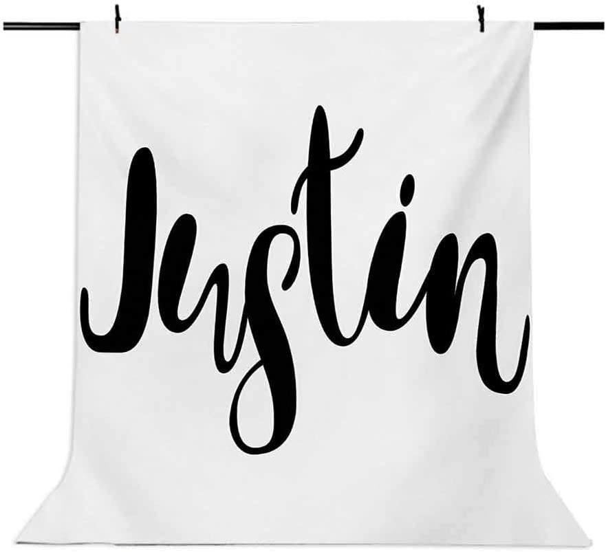 Modern Calligraphy with Popular Male Name Monochrome Hand Lettering Pattern Background for Baby Birthday Party Wedding Vinyl Studio Props Photography Justin 10x12 FT Photography Backdrop