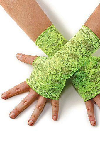 Green Lace Gloves (Balera Dance Costume Fingerless Gloves Stretch Lace Lime LCA)
