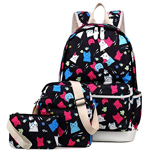 Kemy's Cat School Backpack for Girls Set 3 Pieces Bookbag and Lunch Kit School Bag for Teen Girls Waterproof Cute, Black Colorful