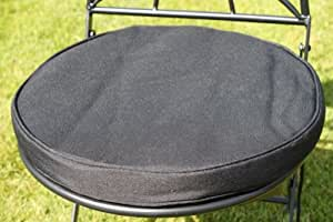 Cojín para muebles de jardín - Cojín redondo para silla bistro - Color negro