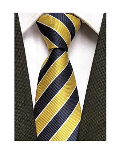 Secdtie Men's Classic Stripe Jacquard Woven Silk Tie Formal Party Suit Necktie (One Size, Yellow -