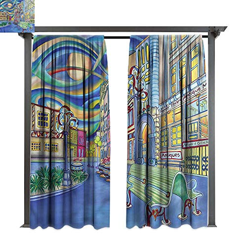(cobeDecor Thermal Insulated Drapes Abstract Downtown Seattle Urban for Lawn & Garden, Water & Wind Proof W108)