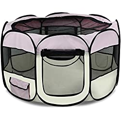 """Yaheetech Pet Puppy Dog Playpen Exercise Pen Kennel 600d Oxford Cloth with Carry Bag,,45"""" Diameter X 24"""" H"""