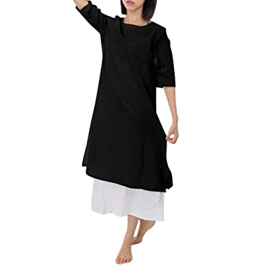 4b19818710d Women s Loose Dresses Plus Size Cotton Casual Embroidery Dress Solid Loose  Short Sleeve Dress