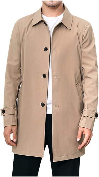 waotier Trench Coat Invierno Hombre Color sólido Cazadora Color de ...