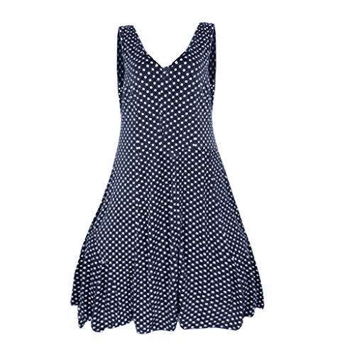 HTDBKDBK Womens Causal Polka Dot V-Neck Layered Sleeveless Pullover Blouse Long Shirt Tops - Invitation Layered
