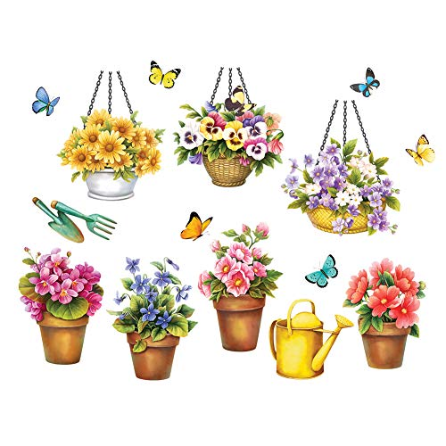 Collections Etc Garden Garage Door Magnets - Set of 15, Includes Potted Flowers, Garden Tools and Butterflies, Removable and Reusable Outdoor Decorative Accents