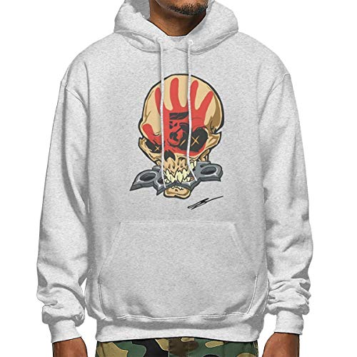 HRSHENG Male Art Five Finger Death Punch with Cap Fashion Hoodies Gray XL