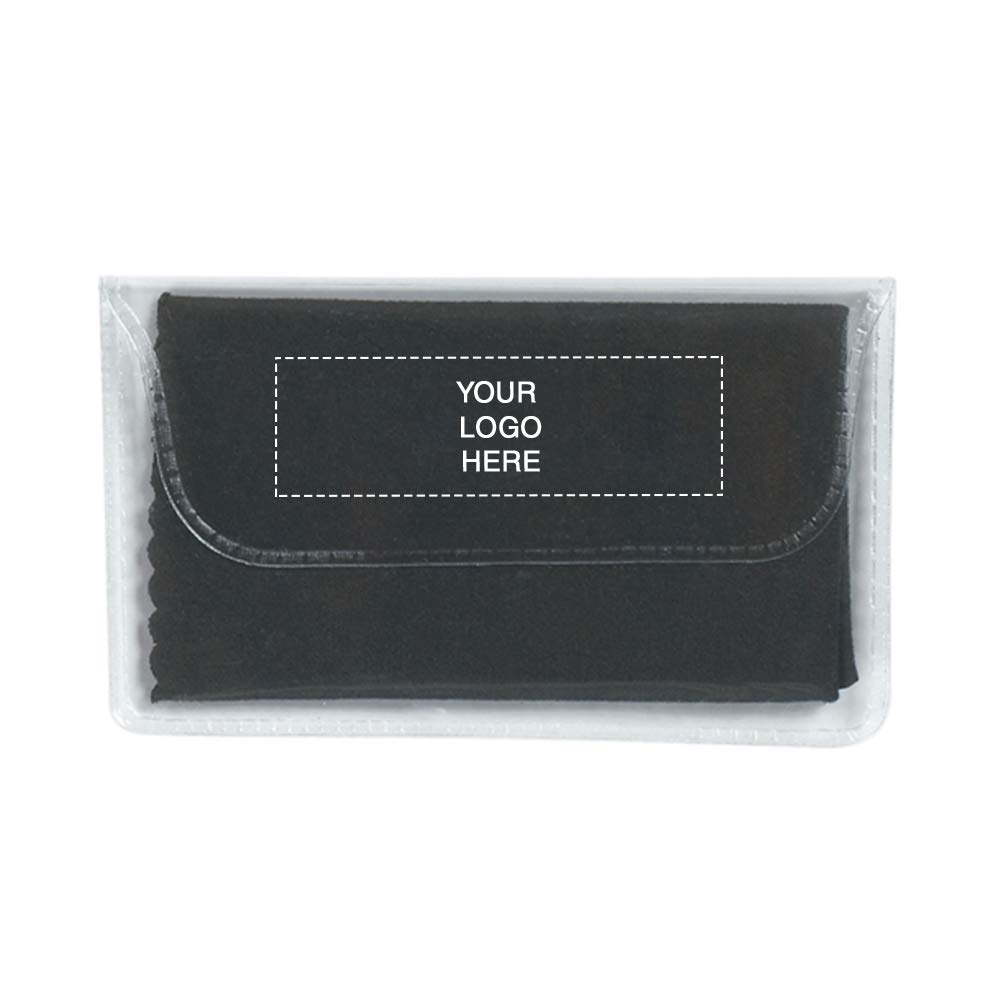 Microfiber Cleaning Cloth in Case | 250 Qty | 0.96 Each | Customization Product Imprinted & Personalized Bulk with Your Custom Logo Black by Promo Direct