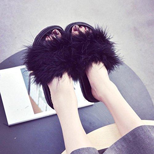 OverDose Damen Slip on Sliders Flauschige Faser Flache Pantoffel Flip Flop Sandalen Slipper Black