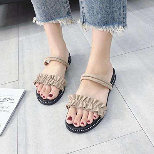 Pantoufles Sandales Plat Boucle Poils Chaussures Gland Rome Flats Mode Ethnique Sandales Jaune Bohème Style Été JIANGfu Femme Sandales Chaussures Strap qwUfwBx