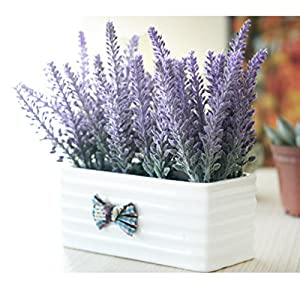 Hibery 6 Bundles Artificial Lavender Plant with Silk Lavender Flowers Lavender Bouquet for Wedding Decor, Home, Garden, Patio Decoration 4