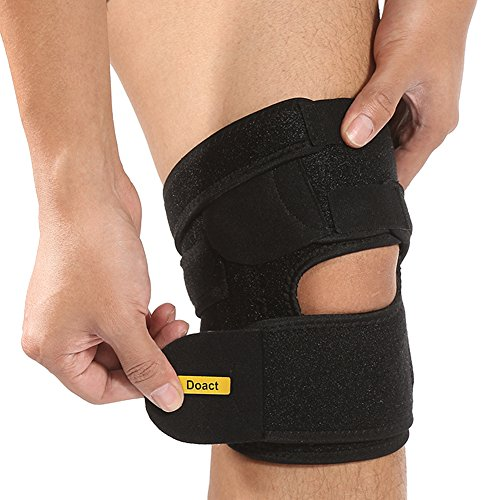 """Doact Knee Brace Support Open Patella Straps Kneecap Wraps Protector with Neoprene Knee Sleeves for Unisex Workout, Running, Weightlifting, Basketball (L-length: 21.5"""", width: 7.9"""")"""