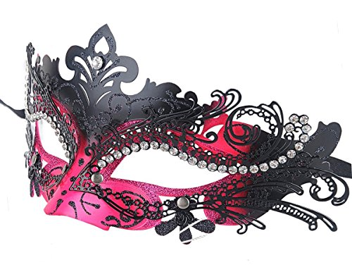 Masquerade Eye Mask,Liangxiang Laser Cut Metal Lady Masquerade Filigree Mask Halloween Mardi Gras Party Mask(Black Rose)