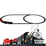 Classical Locomotive Battery Operated Electric Train Set and Go Toy Train with Real Smoke, Music, and Lights Railway Car Set for Educational Kids