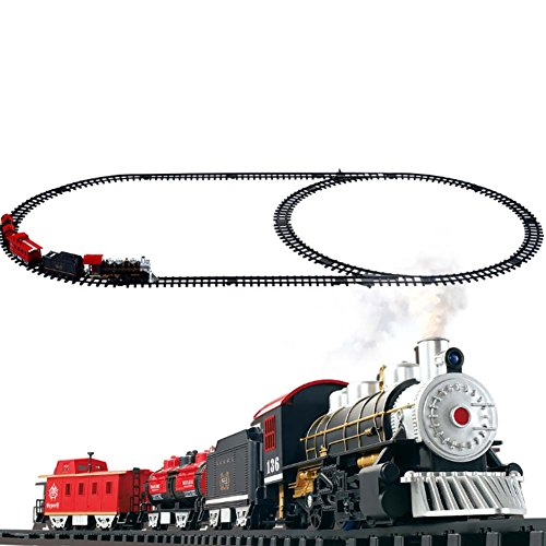 Classical Locomotive Battery Operated Train Set  And Go Toy Train With Real Smoke  Music  And Lights Railway Car Set