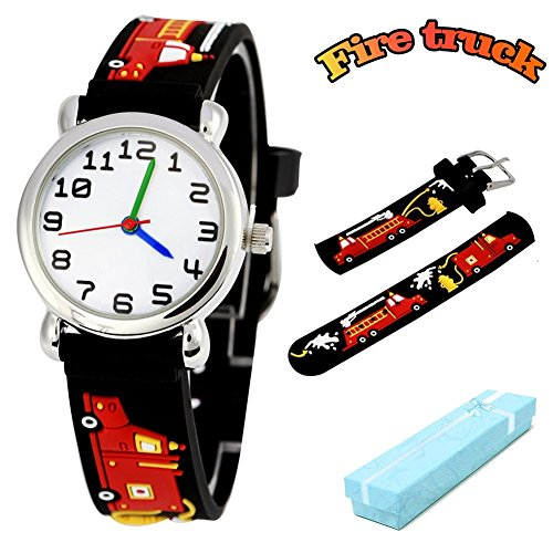 (Vinmori Kid's Watch, with 3D Cartoon Fire Truck Silicone Band Waterproof Quartz Watch Gift for Children(Black) )