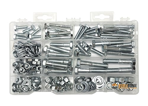 Heavy Duty Nut & Bolt Assortment Kit, 172 Pieces, Includes 9 Most Common Sizes