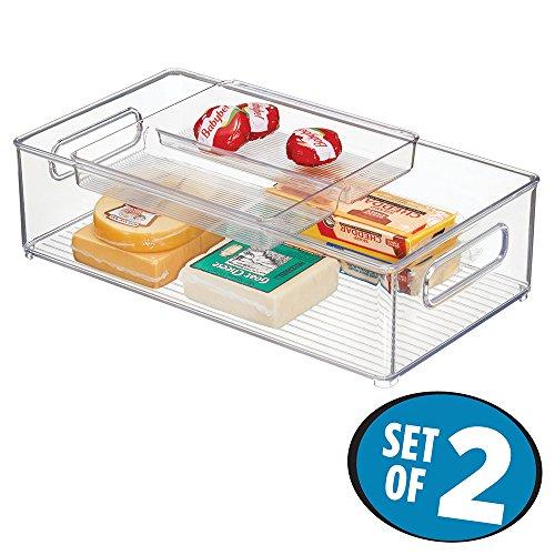 mDesign Stacking Organizer Kitchen Refrigerator