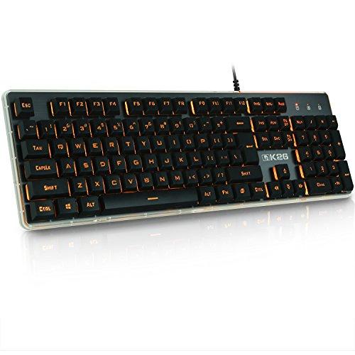 XINMENG K26 Gaming Keyboard 104 Backlit Anti-Ghosting Keys Wired Computer Keyboard Orange Light Breathing Keyboard